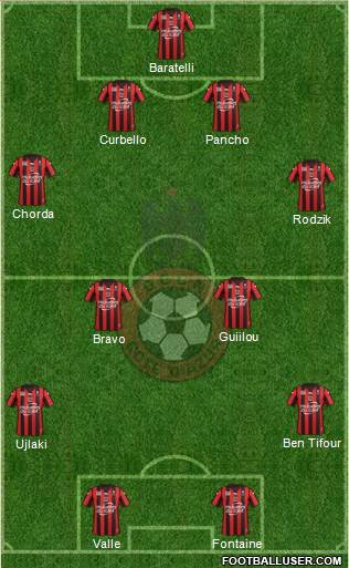 OGC Nice Côte d'Azur 4-4-2 football formation