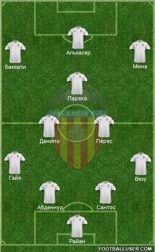 Valencia C.F., S.A.D. 4-3-2-1 football formation