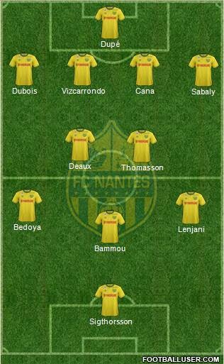 FC Nantes 4-2-3-1 football formation