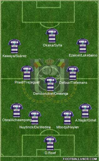 RSC Anderlecht 4-3-3 football formation