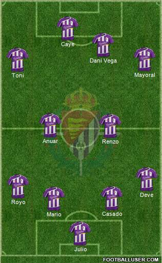 R. Valladolid C.F., S.A.D. 4-2-1-3 football formation