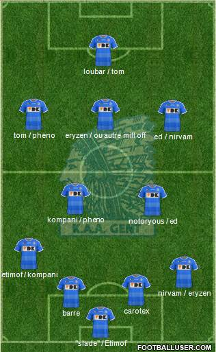 KAA Gent 4-1-4-1 football formation