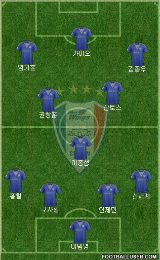 Suwon Samsung Blue Wings 4-1-2-3 football formation