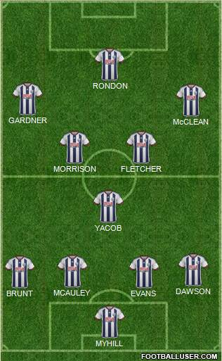 West Bromwich Albion 4-4-1-1 football formation