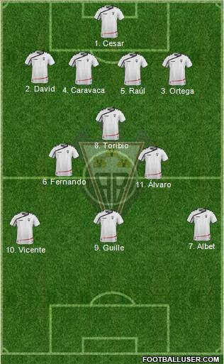 Albacete B., S.A.D. 4-1-3-2 football formation