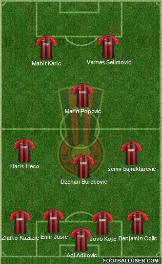 NK Celik Zenica 4-3-1-2 football formation