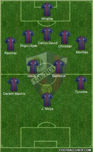 S.D. Huesca 3-5-1-1 football formation