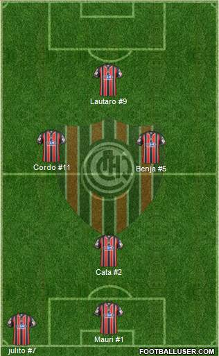 Chacarita Juniors 4-4-2 football formation