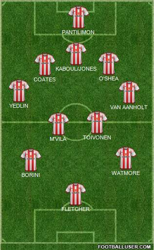 Sunderland 5-4-1 football formation