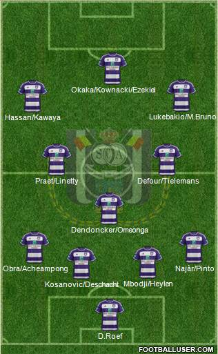 RSC Anderlecht 4-1-2-3 football formation