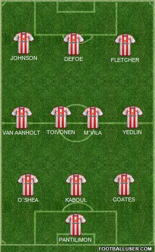 Sunderland 3-4-3 football formation
