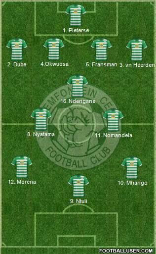 Bloemfontein Celtic 4-3-3 football formation