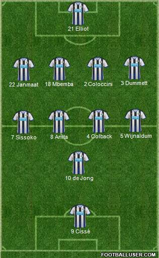 Newcastle United 4-4-1-1 football formation