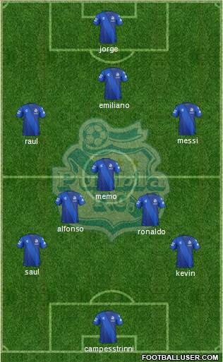 Club Puebla de la Franja 5-4-1 football formation
