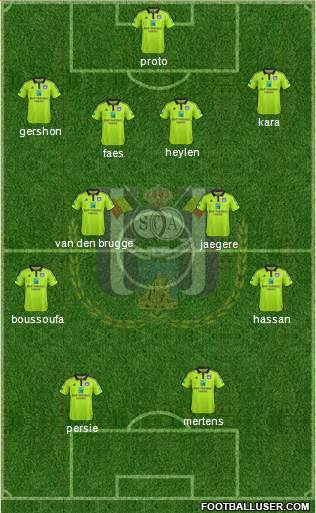 RSC Anderlecht 4-4-2 football formation