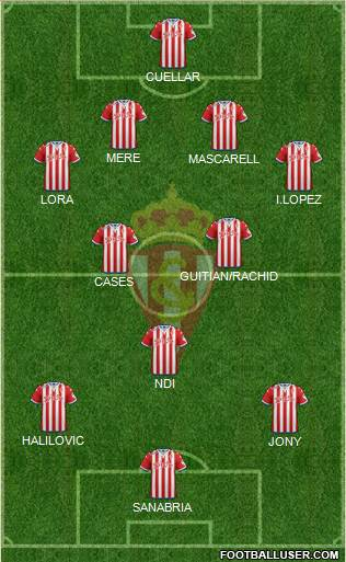 Real Sporting S.A.D. 4-5-1 football formation