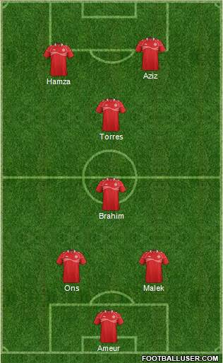 Tunisia 3-5-2 football formation