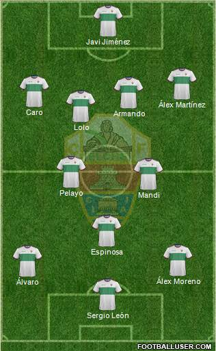 Elche C.F., S.A.D. 3-4-2-1 football formation