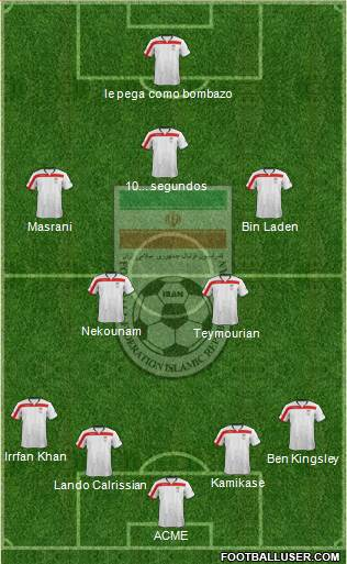 Iran 4-4-1-1 football formation