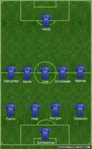 Leicester City 4-5-1 football formation