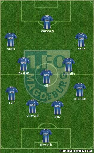 1.FC Magdeburg 4-5-1 football formation