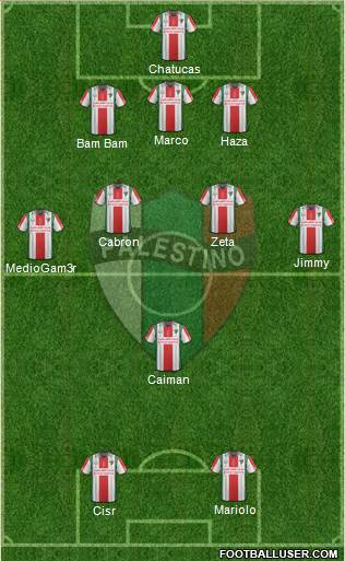 CD Palestino S.A.D.P. 3-4-1-2 football formation