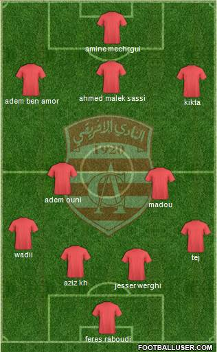 Club Africain Tunis 4-4-2 football formation