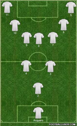 Championship Manager Team 3-5-1-1 football formation