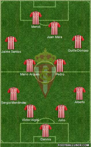 Real Sporting S.A.D. B 4-4-2 football formation
