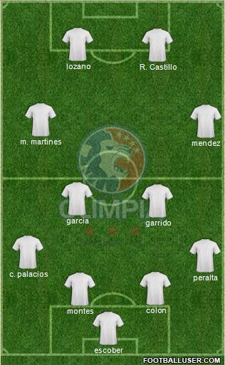 CD Olimpia 5-4-1 football formation