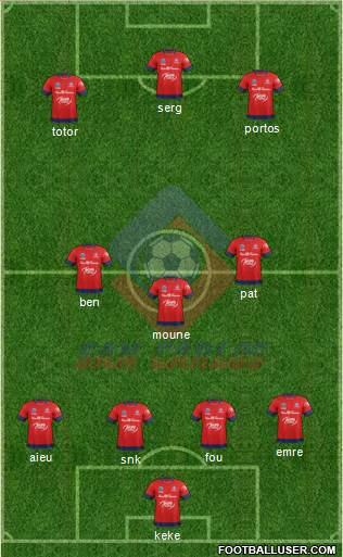 AD San Carlos 4-1-3-2 football formation