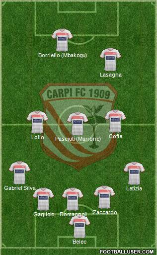 Carpi 5-3-2 football formation