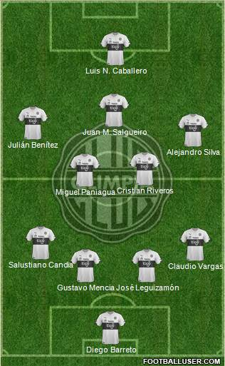 C Olimpia 4-5-1 football formation
