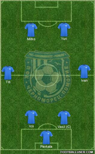 Chernomorets (Pomorie) 4-1-3-2 football formation