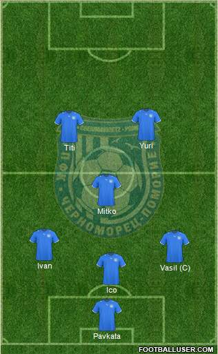 Chernomorets (Pomorie) 4-1-4-1 football formation