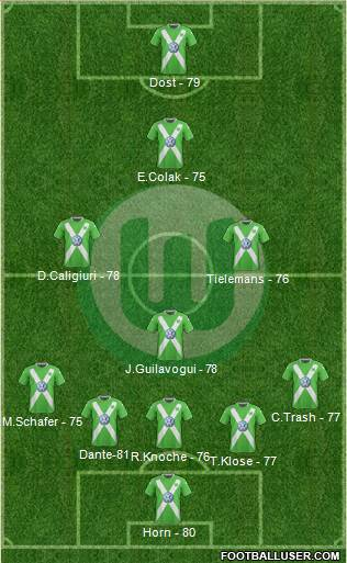 VfL Wolfsburg 5-4-1 football formation