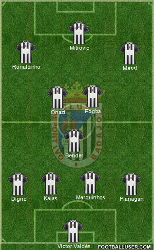 C.D. Badajoz S.A.D. 4-1-3-2 football formation