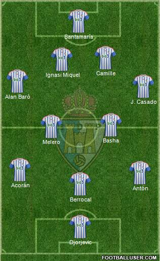 S.D. Ponferradina 4-2-3-1 football formation