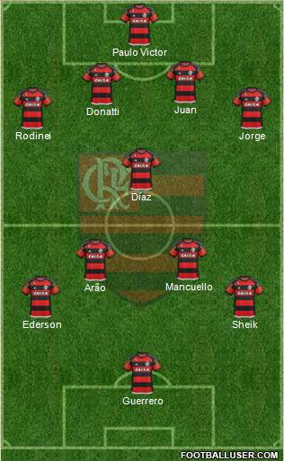 CR Flamengo 4-1-4-1 football formation