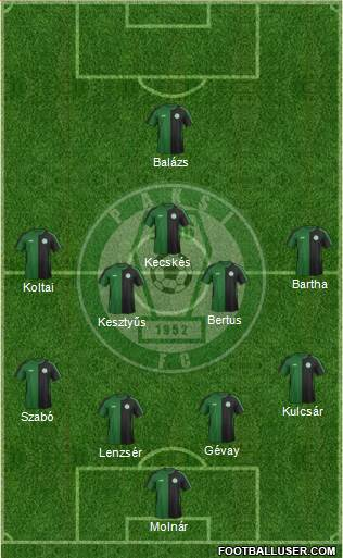 Paksi SE 4-5-1 football formation