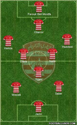 Club Africain Tunis 5-4-1 football formation
