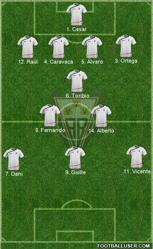 Albacete B., S.A.D. 4-1-4-1 football formation