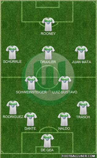 VfL Wolfsburg 4-2-4 football formation