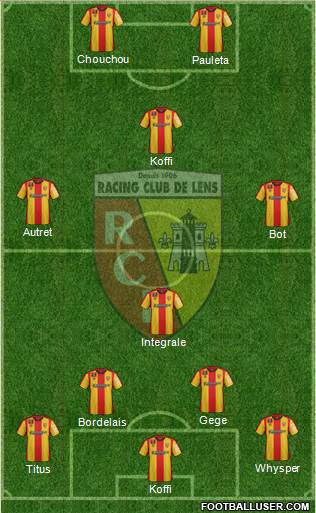 Racing Club de Lens 4-1-3-2 football formation