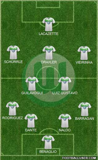 VfL Wolfsburg 4-2-3-1 football formation