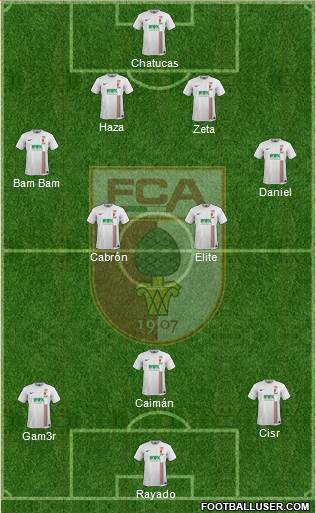 FC Augsburg 4-3-3 football formation