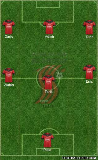 FK Sloboda Tuzla 3-5-2 football formation