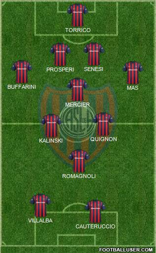 San Lorenzo de Almagro 4-3-1-2 football formation
