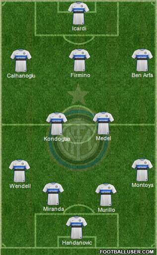F.C. Internazionale 4-1-4-1 football formation