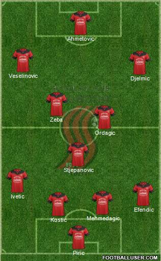 FK Sloboda Tuzla 4-3-2-1 football formation